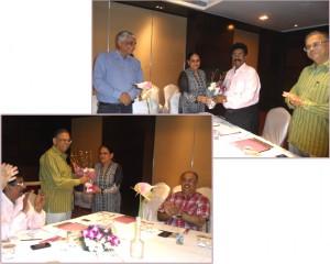 Dev Nair, President, (AIFMP) and Mr. Anand Limaye, General Secretary, (AIFMP) being facilitated by Ms. Neetu Arora, Director, Print-Packaging.com (P) Ltd.