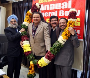 The house unanimously elected Mr. Parveen Aggarwal as President and Mr. Kamal Chopra as General Secretary yet for another term of two years. In the picture Mr. S S Dhillon (extreme left and Mr. Romi Malhotra (third from left) garlanding Mr. Agarwal and Mr. Chopra.